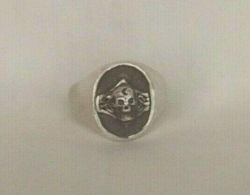 VTG Sterling Silver Bikers Celtic Scull ring size-12         305