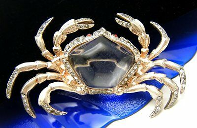 Fabulous Crown Trifari Sterling Jelly Belly Crab Pat Pend Rhinestones on Lookza