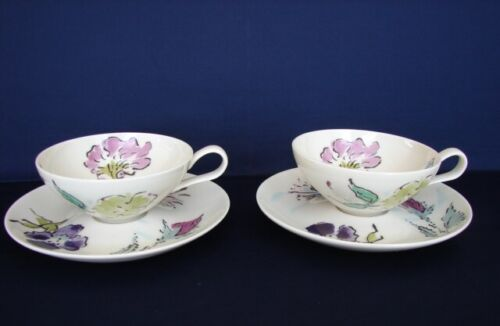 Set of 2 Castleton FRENCH GARDEN Cups & Saucers Mid-Century Modern