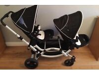 ABC designer twin buggy . ABC double pushchair with one carry cot . Pram . Stroller