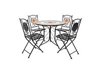 Mosaic round table and chairs