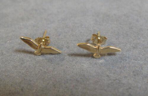 Vintage Fourteen Karat Yellow Gold Bird In Flight Earrings