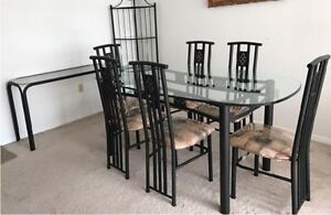 9 piece iron metal and glass dining set