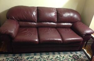 """Moving Sale """"Chesterfield"""" Purple Leather Sofa And chair set"""