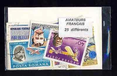 Aviateurs Französisch - Pilotenbrille 25 Briefmarken Unterschiedliche Entwertet