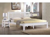 White Wooden King Size Bed - Less than a year old!