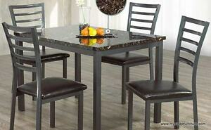 1026 MARBLE LOOK DINING TABLE WITH 4 CHAIRS- BRAND NEW