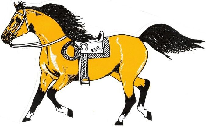 """2 - Horse Stickers With Saddle Cowboy Rope  (9"""" X 12¼"""")  Decal Vinyl  Yellow"""