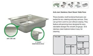 PROFESSIONAL Anti-jam Stainless Steel Steam Pans / Inserts