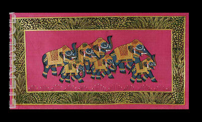 Hanging Wall Painting Mughal on Silk Art Elephant India 39x20cm C13 1211