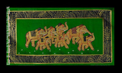 Hanging Wall Painting Mughal on Silk Art Elephant India 39x20cm C8 1206