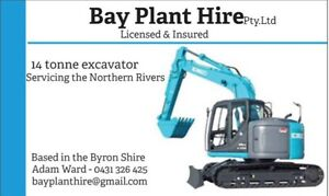 14t excavator for wet hire civil rural landscaping digger earthmoving Byron Bay Byron Area Preview