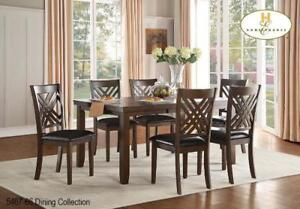 Wooden Extendatble Dining set  with 6 Leather Chairs (MA309)