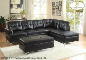 BLACK LEATHER SECTIONAL ON SALE (ND 71)