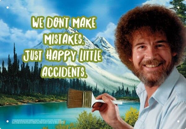 Bob Ross The Joy of Painting We Make Happy Little Accidents Tin Sign Poster NEW