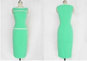 Womens boat neck sleeveless Bodycon Business Party Cocktail Pencil Dress