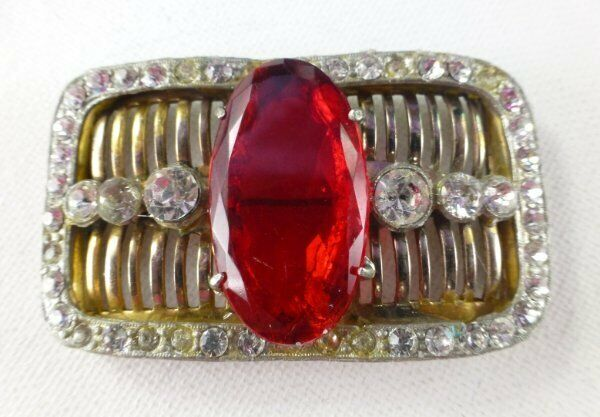 Vintage ART DECO Large Red Glass Stone Rhinstone Pin Brooch 30's Buckle Style