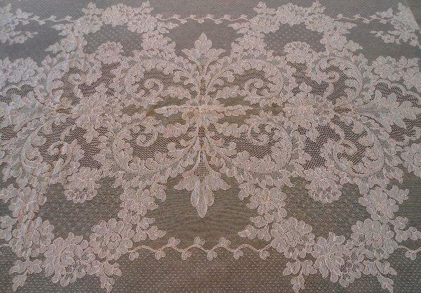 "Vintage Pink French Alencon Net Lace Tablecloth 100"" Floral Swags France"