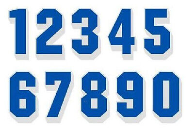 """2"""" Reflective Bright Blue Numbers White Drop Shadow These are single numbers"""