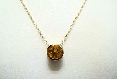 Citrine Round Bezel Necklace 14K Yellow Gold 18