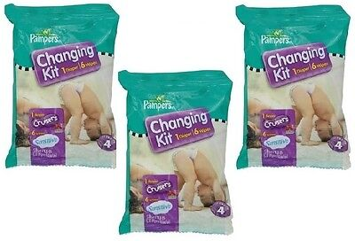 Pampers Cruisers Changing Kit (1Diapers/6 Wipes) LOT OF 3 KITS! Baby Shower Gift ()