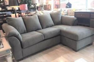NEW Grey Sofa Chaise. Reversible.  In stock - take it home today