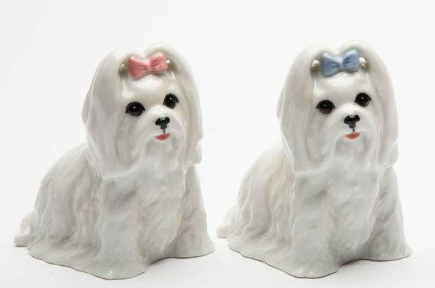 New PORCELAIN Figurine DOG Salt Pepper Shakers MALTESE White Puppy Statue BOW