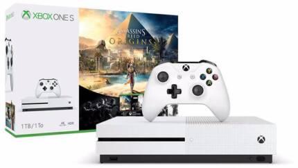 Xbox one S +3 games UNOPENED -Assasins creed origins, NBA, Halo 5