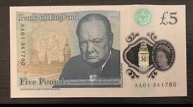 AA01 new £5 note
