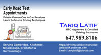 MTO CERTIFIED DRIVING INSTRUCTOR CAMBRIDGE/KITCHENER