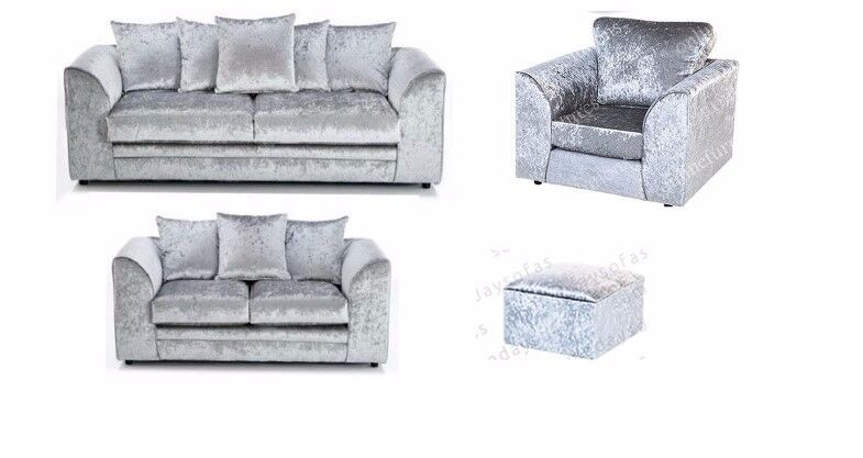 CRUSHED VELVET 3 + 2 + 1 SEATER SOFA IN SILVER + FREE FOOTSTOOL