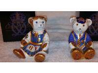 Boxed Royal Crown Derby Schoolboy and Schoolgirl Teddy Paperweights