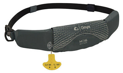 Onyx M-16 Manual Inflatable Belt Pack Life Jacket Paddle Board Canoe Grey PFD