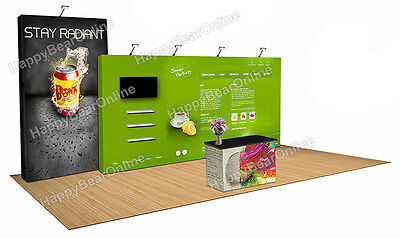 Trade Show Pop-up 20ft X 10ft Fabric Exhibition Booth 10ft Tall Shelves V2