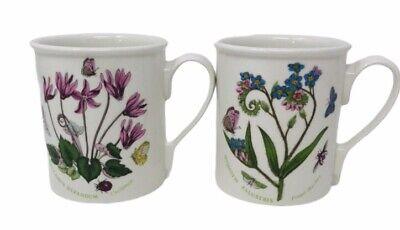 Portmerion Botanic Garden Cyclamen Forget-Me-Not Coffee Mug Cup Set of 2
