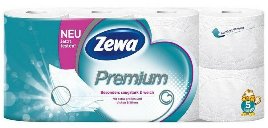 64 Rollen Zewa Toilettenpapier Premium 5-lagig Klo Toilette WC Papier
