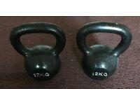 2 x 12kg Kettlebells (Cast Iron)