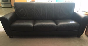 Leather Couch - Chocolate Brown Strathcona County Edmonton Area image 3