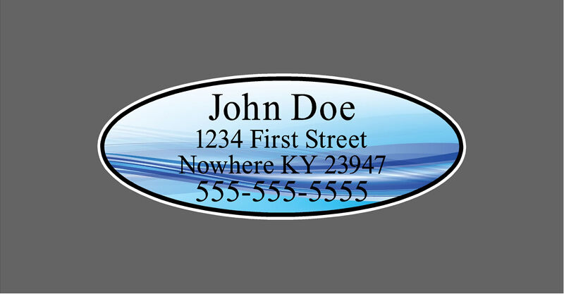 Custom Blue Oval Shaft Labels For Back of Shaft With Your Information