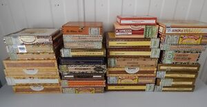 LARGE LOT COLLECTION 32 VINTAGE CIGAR BOXES BOITES DE CIGARE