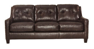 HARLEY GENUINE LEATHER SOFA - NO TAX/FREE DELIVERY!!!!!