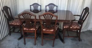 Elegant 7PC antique dinning set, new fabric, refinished (deliv