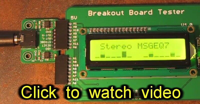 Stereo MSGEQ7 breakout board (7-band graphic equalizer) for Arduino