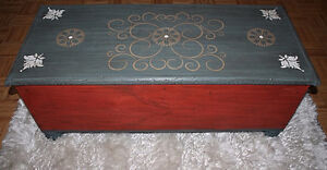 Old Painted Wooden Trunk