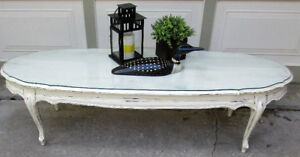 "TODAY $125 - VINTAGE SHABBY CHIC OVAL 60"" WIDE COFFEE TABLE"