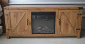 """Brand New Adalberto 58"""" TV Stand with plug in Fire Place"""