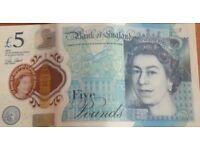 Brand New Five pound Note AK47