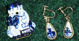 Vintage Delft Blue Earrings and Brooch