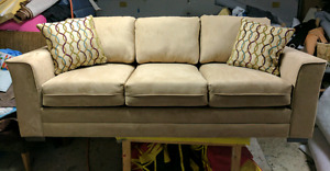 New sofa and chair. Tan colored Microfiber