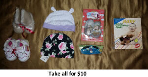 0-3 Mths Girl Hats, Shoes, Accessories Lot 1 (Take all for $10)